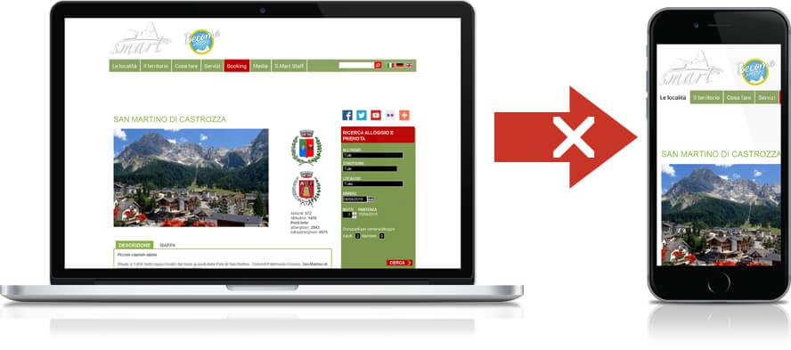 esempio sito web non responsive